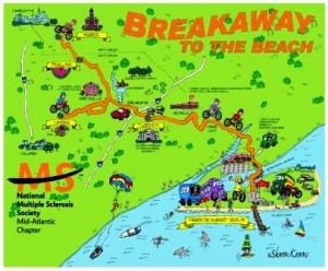 route map for MS breakaway to the beach 2010