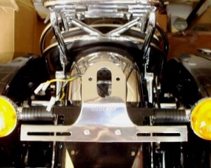 Duolamp tail light bracket mounted on motorcycle