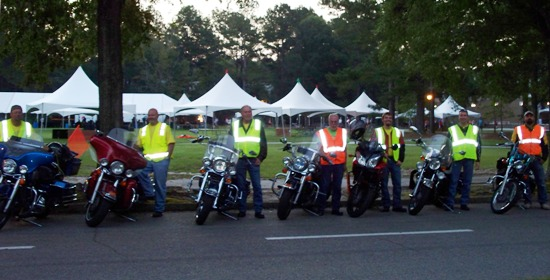 2012 MS Breakaway to the Beach Motorcycle Marshals at Francis Marion University start of day two