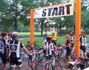 Francis Marion University starting line Bike MS 2012 on day two