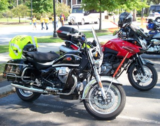 Moto Guzzi California and Suzuli Vstrom at Coker College lunch stop in Breakaway to the Beach