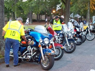 Motorcycle Marshals at Francis Marion University start of day two of Bke MS Breakaway to the Beach