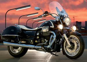 Moto Guzzi California 1400 Touring black with lights on