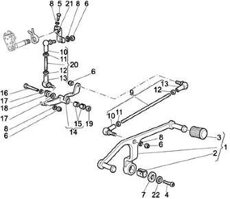 Moto Guzzi California gear shift linkage diagram